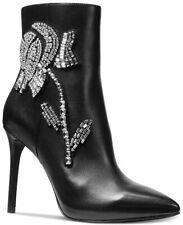 Michael Kors 💯%Authentic Crystal rhinestones Viera Booties Black Heel Boots 5.5