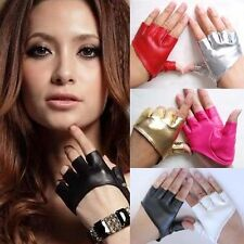 Chic Women Half Finger PU Leather Gloves Ladys Fingerless Dance Show Pole Dance