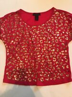 NWOT XS Material Girl Leopard Bling Sequin Short Sleeve Pink Top gold