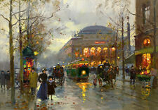 "France Paris City Street Scene Oil painting Hd Printed on canvas 12""X16"" L463"