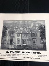 M4-2 Ephemera 1939 Dunoon Advert St Vincent Private Hotel Mrs Brown