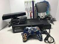 Microsoft XBox 360 S 4GB System Lot w/ Kinect & 8 Games Console Bundle 1439 TEST