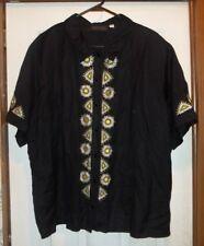 BOB MACKIE Wearable Art - Linen/Rayon SS Button Up SHIRT w/Daisies - Size 3X