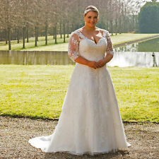 White Ivory Plus Size Wedding Dress Cheap Bridal Gown with Lace Custom Made