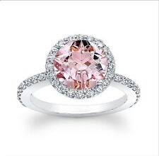 Natural 2.63Ct  Morganite  Engagement Ring 14K Solid White Gold Size N P O S