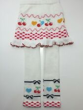 Skirted Leggings, size 2T 3T White Knit Cherry Bows Hearts Argyle Skirt Leggings