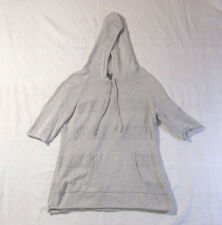 Eddie Bauer Womens Light Grey Pullover Hoodie 1/2 Sleeve Size M 100% Cotton