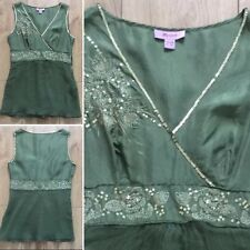 Ladies 100% Silk Green & Gold Embellished Top Size 8 UK By Monsoon