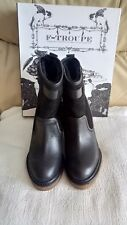 Ladies black leather upper ankle wedge boots (faux fur lined) UK 6 by F-TROUPE