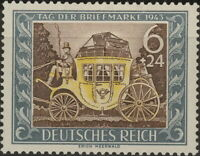 Stamp Germany Mi 828 Sc B215 1943 WWII 3rd Reich Carriage Mail Coach MH