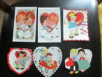 6 Vintage 1930s Valentine Cards Rare Kids Boy Girl USA Jumping Rope Wagon Heart