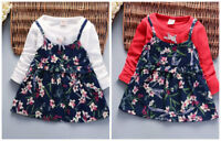 baby girl clothes kids girl long sleeve false two dress daily party dress flower