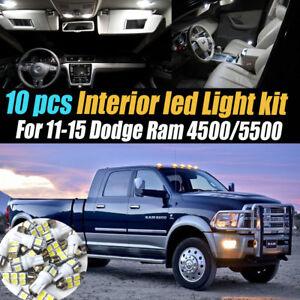 10Pc Super White Interior LED Light Bulb Kit Pack for 11-15 Dodge Ram 4500/5500