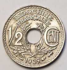 INDOCHINE : RARISSIME 1/2 CENT. 1939 ARGENTE