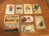 Lot of 9 Original Vintage/Antique Post Cards - Flowers, Best Wishes, Greetings