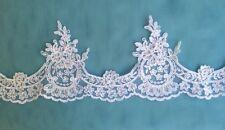 1m white sequin corded lace border tutu plate dance costume bridal wedding sew