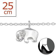 TJS 925 Sterling Silver Anklet Elephant Clear CZ 22cm Expandable to 25cm Dangle