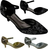 Ladies New Kitten Heel Pointed Toe Pin Buckle Strictly Fashion Shoes UK Size
