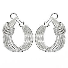 ZirconZ-Pave Signty 5A CZ Insideout Layered Sterling Silver Omega Hoop Earrings