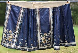 19TH C CHINESE HAND EMBROIDERED SILK WEDDING SKIRT W FLORALS & SYMBOLS