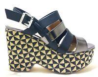 GAUDI MELLY V73 65372 scarpe sandali donna zeppa alta casual pelle tessuto tacco