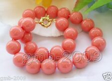 "Rare Huge 18mm Round Coral Pink South Sea Shell Pearl Necklace 18""AAA"