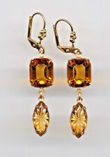 AMBER TOPAZ emerald-cut ETCHED Carved crystal EARRINGS 14K Gold gp Vintage Czech