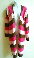 JUNCTION WEST SWEATER OPEN FRONT UNEVEN HEM MULTICOLORED PINKS AND BROWN SZ XL
