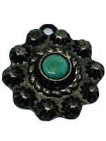 Antique Old Pawn Repousse Gem Quality Persian Turquoise Cabochon Flower Charm
