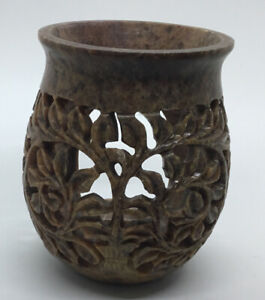 Yankee Candle Carved Soapstone Leaves Candle Holder 4 Inches Tall