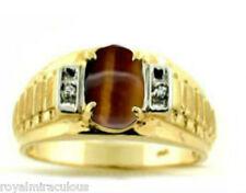 14K Yellow Gold Designer Style Mens Tiger's Eye & Diamond Ring