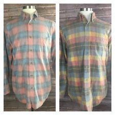 Orvis Men M Multi Color Plaid Checkered Soft Cotton Long Sleeve Button Up Shirts
