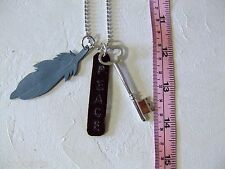 New Handmade Leather Feather Pendants & Key, Necklace Metal Chain