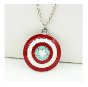 Marvel Avengers Captain America Shield Necklace - Mens Superhero Movie Jewelry