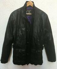 Mans Leather Jacket L Military Sterling 44 Black Zip Snaps Funnel Lined Pockets