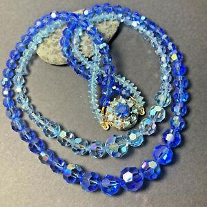 Topaz Sapphire Blue Aurora Borealis Coated Crystal Double Necklace Vintage