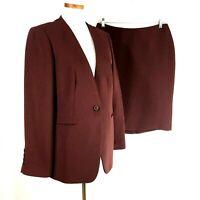 Talbots Womens Solid Plum Polyester Career Skirt Suit Sz 14 Jacket 10 Skirt