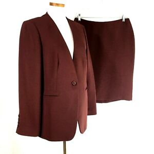 Talbots Womens Solid Plum Skirt Suit Sz 14 Jacket 10 Skirt