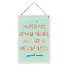 Chaos Kind Glücklich 20 x 30 cm Holz-Schild 8 mm Spruch Geschenk Kinder-Zimmer