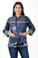 Indien Coton Doux Veste Femmes Patchwork Long Manche Blazer Hiver Taille Manteau