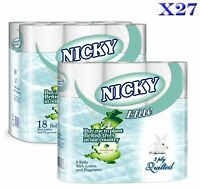 27 ROLLS NICKY ELITE 3 PLY LUXURY SOFT QUILTED TOILET ROLLS TISSUE TOILET PAPER
