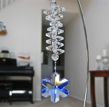 Blue AB Snowflake Prism Ornament, Swarovski 35mm Logo with 14 Octagon Prisms
