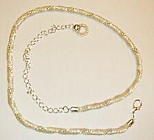 VINTAGE STYLE GOGO DISCO BELT OR CHUNKY NECKLACE SILVER TWIST WITH CHIN & RING