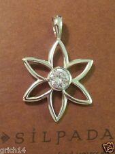 W/Big Cubic Zirconia S1195 Retired Silpada Sterling Silver Flower Pendant