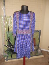 NWT MADEWELL 1937 ASCOT GRID SILK TEE DRESS IN COBALT BLUE  SIZE LARGE
