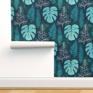 Removable Water-Activated Wallpaper Jungle Bohemian Turquoise Blue Watercolor