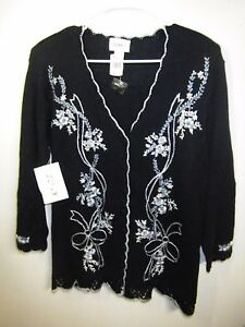 JENNY  LADIES SMALL SWEATER JACKET BLUE EMBROIDERED LACE BUTTON UP NWT