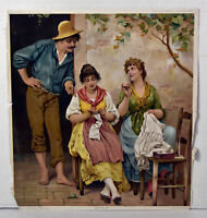1890s Antique Print Funny Rivals Man and Two Women Rural Scene
