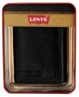 NEW LEVI'S MEN'S LEATHER TRIFOLD CREDIT CARD WALLET EMBOSSED LOGO BLACK 31LV1182