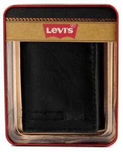NEW LEVI'S MEN'S LEATHER TRIFOLD CREDIT CARD WALLET EMBOSSED LOGO BLACK 31LV1182